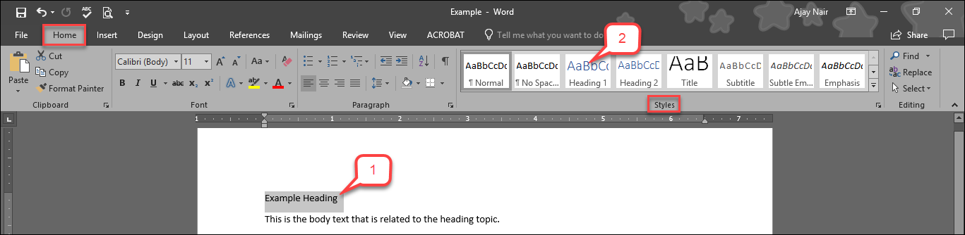 """This image is for the """"Use Headings"""" tutorial, steps 1 and 2."""