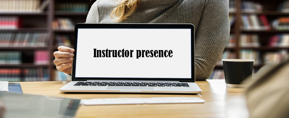 "Open Laptop with ""Instructor Presence"" on Screen"