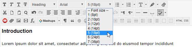 Blackboard text editor 18 point font