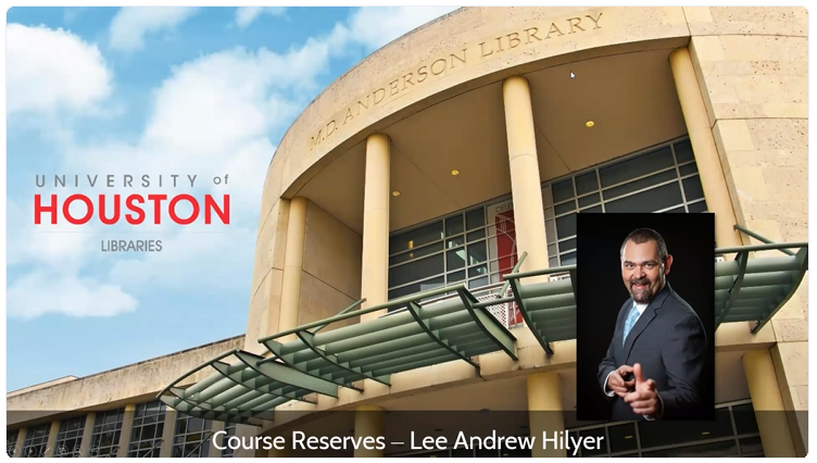 This image shows the front of UH MD Anderson libary and the presenter's photo.