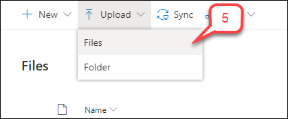 Step 5 select upload then files