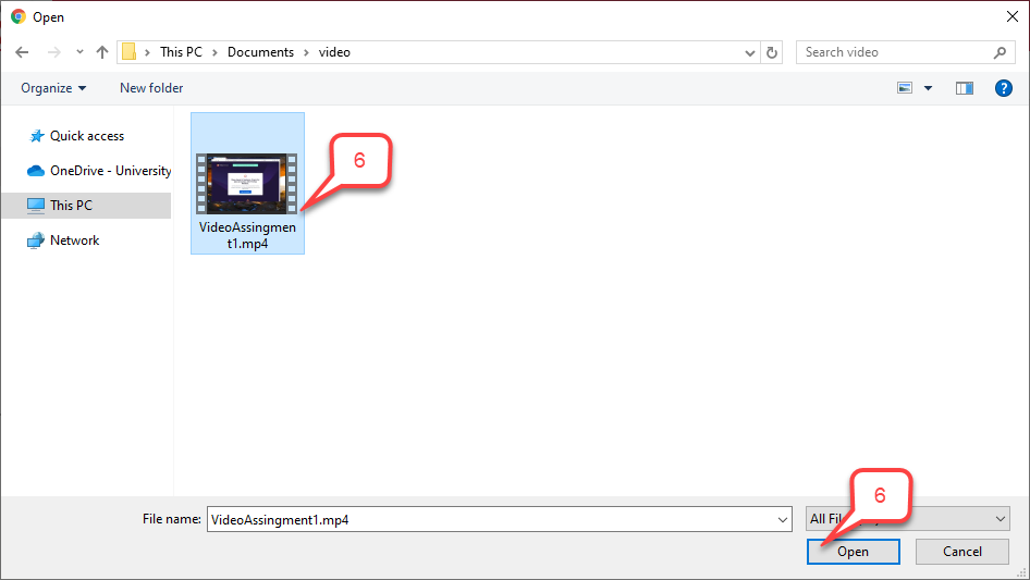 Step 6 select file and open