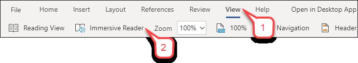 Microsoft Word menu click View then Immersive Reader