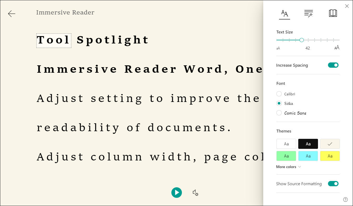 Immersive Reader view of text and settings