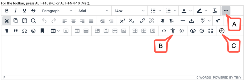 """A screenshot of the new content editor and toolbar highlighting the """"More…"""", """"Accessibility Checker"""", and """"Add content"""" buttons"""